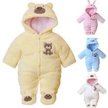 Kış Yenidoğan Bebek Romper Karikatür Kapşonlu Bebek Giysileri Pamuk Sıcak Bebek Kız Tulum Toddler Erkek Bebek Giyim