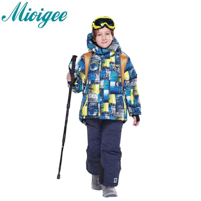 2pcs Suit 2017 Russian Winter -30 Degrees Children's Ski Suit Boys Set Winter Kids Clothes Warm Hooded Jacket Coat+Ski Pants