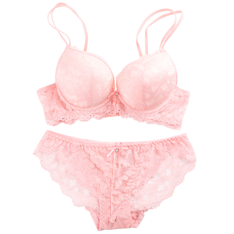 New 2018 Lace Embroidery Bra Set Women Plus Size Push Underwear Set Bra Panty Set 32 34 36 38 AB Cup Female