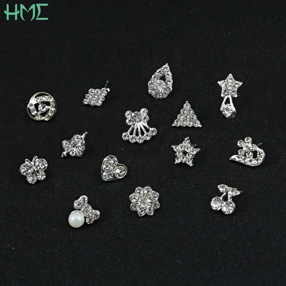 Fashion Jewelry Pearl Heart Stars Flower Rhinestone Crystal Silver Stud Earrings For Female Wedding Cartilage Piercing Brincos