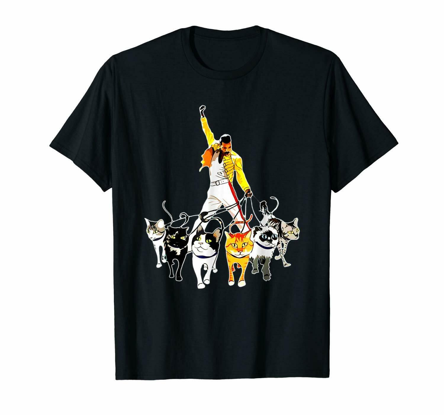 Freddie Mercury And His Kittens I'm In Love With My Cat Queen Rock Black T Shirt Gift Print T shirt,Hip Hop Tee Shirt