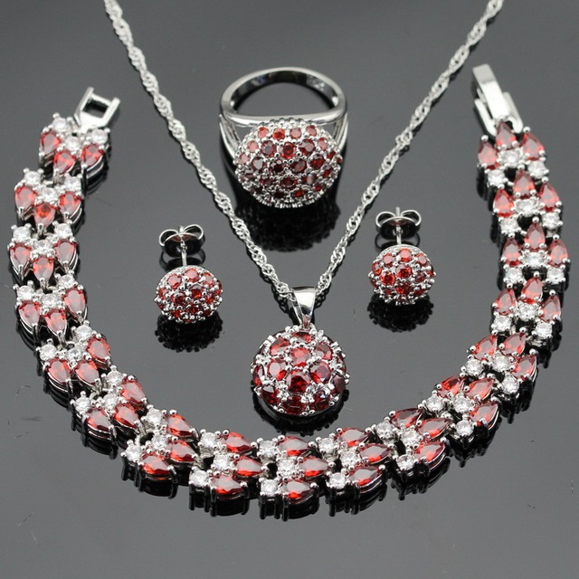 Red Created Garnet Silver Color Wedding Jewelry Sets For Women Necklace Pendant Bracelets Stud Earrings Rings Free Gift Box