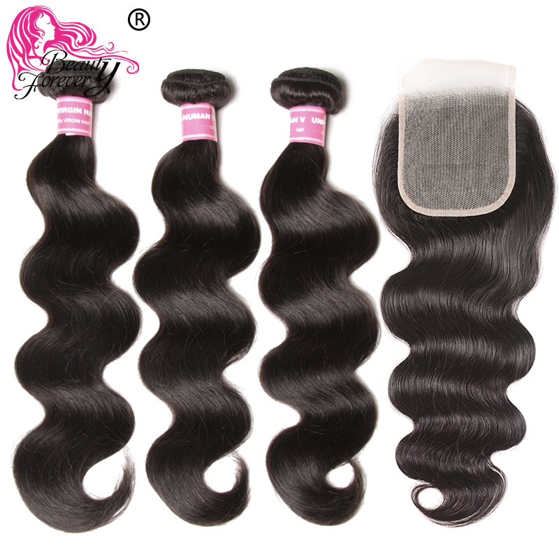 Beauty Forever Body Wave With Transparent Lace /Medium Brown Closure 3 Bundles Brazilian Hair With Closure Remy Human Hair Weave-in 3/4 Bundles with Closure from Hair Extensions & Wigs    1