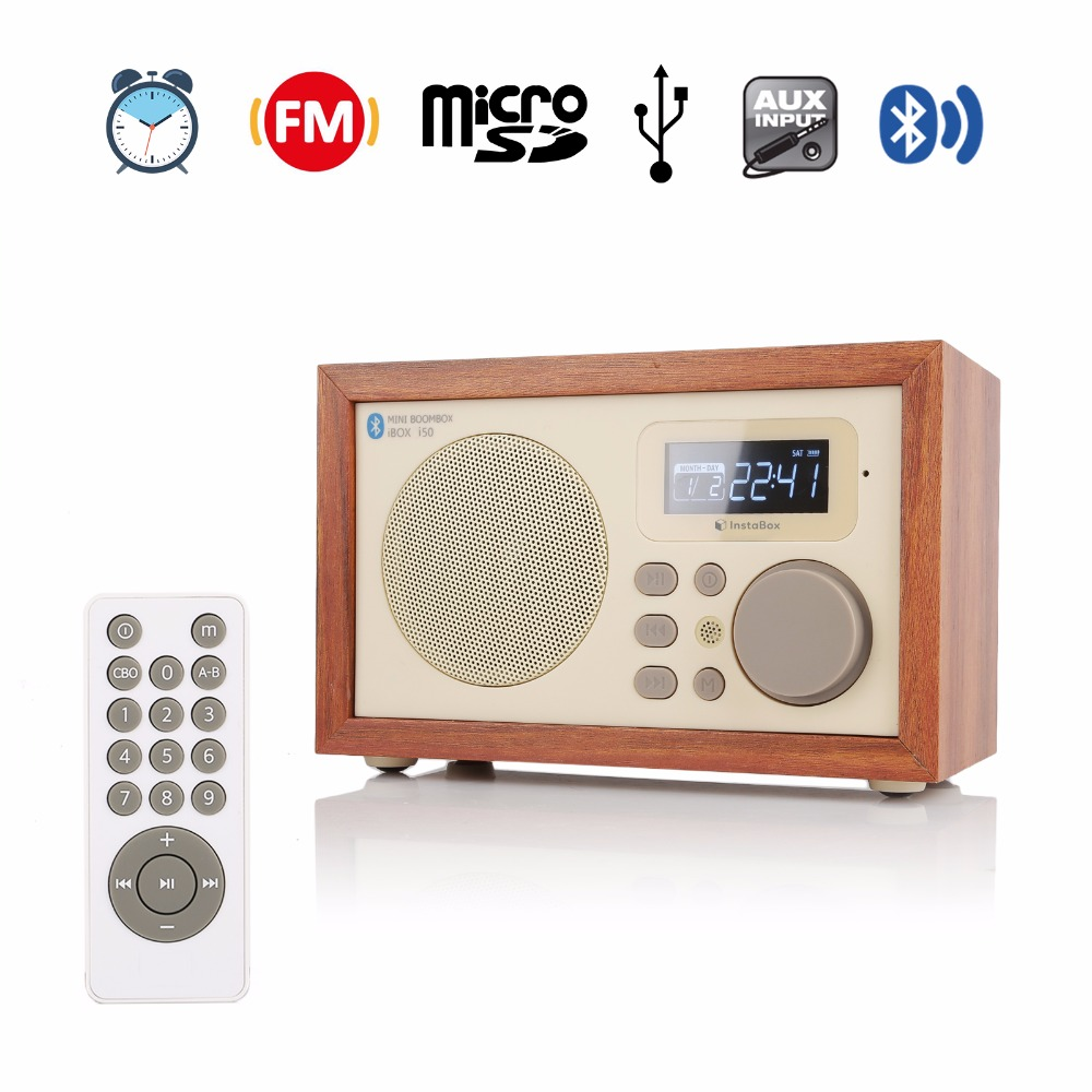InstaBox i50 Wooden Multi-Functional FM Radio Receiver MP3 Bluetooth Speaker Player Alarm Clock Support Micro SD TF Card USB tivdio v 116 fm mw sw dsp shortwave transistor radio receiver multiband mp3 player sleep timer alarm clock f9206a