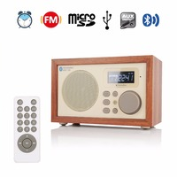 InstaBox i50 Wooden Multi Functional FM Radio Receiver MP3 Bluetooth Speaker Player Alarm Clock Support Micro SD TF Card USB