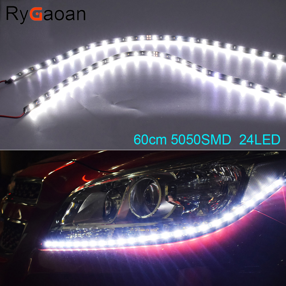 RyGaoan 2 Piece 60cm 5050 SMD 24 LED DRL Parking Light Car Styling Flexible LED Daytime Running Lights Real Waterproof цена