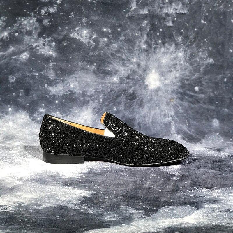 Роскошные Брендовые мужские лоферы; Модные Повседневные туфли на плоской подошве с украшением в виде кристаллов; блестящие свадебные туфли для вечеринки; деловая обувь; zapatos de mujer - 6