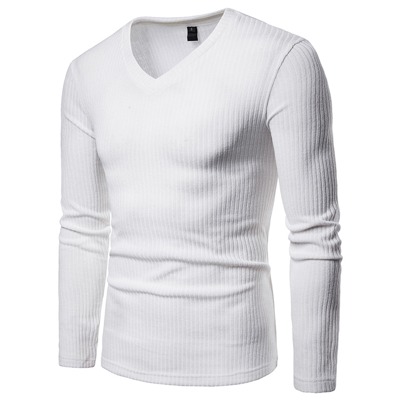Autumn New Men's Long Sleeve Sweater V Neck Slim Warm Sweater Shirt Casual Pure Color Stripe Large Size Sweater Men's Clothes