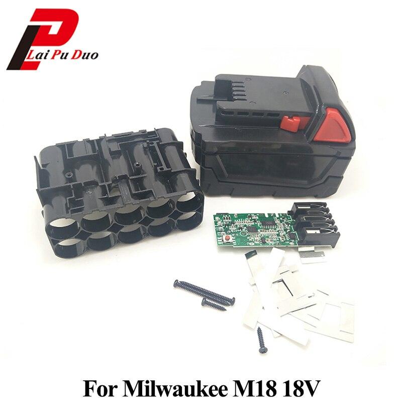 M18B Li-ion Battery Plastic Case Charging Protection Circuit Board For Milwaukee 18V M18 48-11-1815 3Ah 4Ah 5Ah PCB Board Shell dawupine bat411 battery plastic case no battery cell pcb circuit board for bosch 10 8v 12v bat411 li ion battery shell box