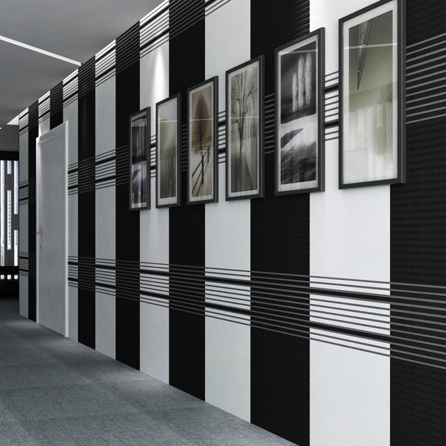 High Grade Modern Simple Black And White Stripe Wallpaper Bedroom Living Room Office Art Stutido Tv