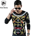 Fire Kirin Long Sleeve T Shirt Men 2017 Hip Hop T-shirt 3D Brand Clothing Slim Fit Mens Printed Tshirt Casual Camisetas T463
