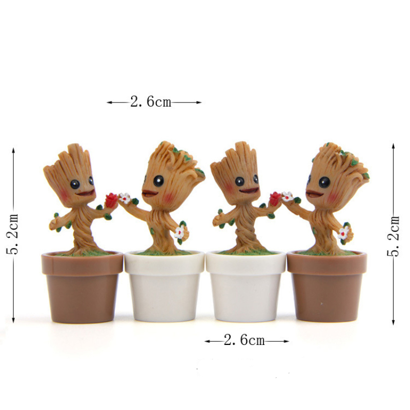 1pcs New Toys Guardians of the Galaxy Mini Cute Tree Man Action Figures Collection Model Toys for Garden Home Office Decoration