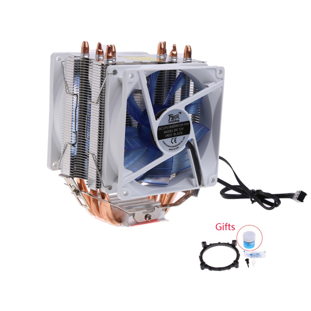 New 12V Dual CPU Processor Cooler Blue LED 3Pin Fan Quiet Aluminum Heatsink For Intel LGA775 AMD AM3 Computer Fans & Cooling C26 jetting new dual fan cpu quiet cooler heatsink for intel lga775 1156 amd 95w spca