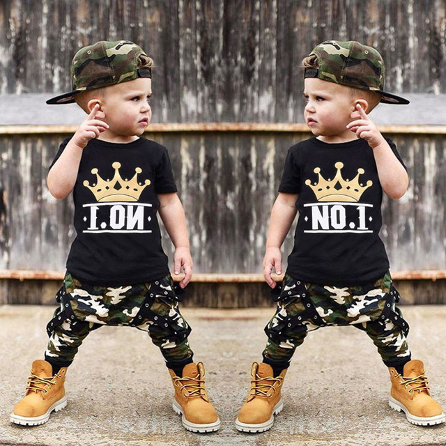 b9e76ed7e New Arrival Fashion Toddler Kids Baby Boy Letter Short Sleeve T shirt  Tops+Camouflage Shorts Outfits Cool kids clothes Set 1 4T-in Clothing Sets  from ...