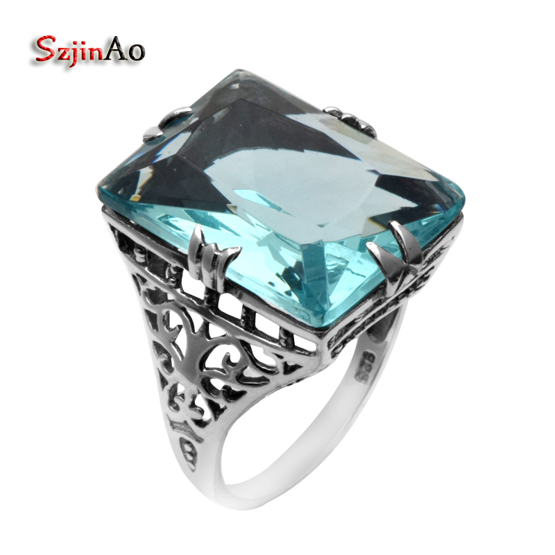 Szjinao New Punk Antique Ring High Quality 925 Sterling Silver Female Blue Aquamarine Ring 925 Sterling Silver Ring Wholesale