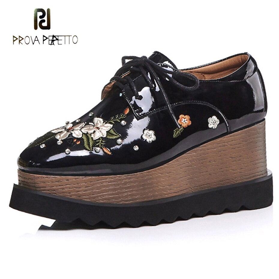 Prova Perfetto 2018 broderie fleurs plate-forme chaussure nouvelle mode automne bout carré à lacets automne chaussure comfot femmes chaussures décontractées