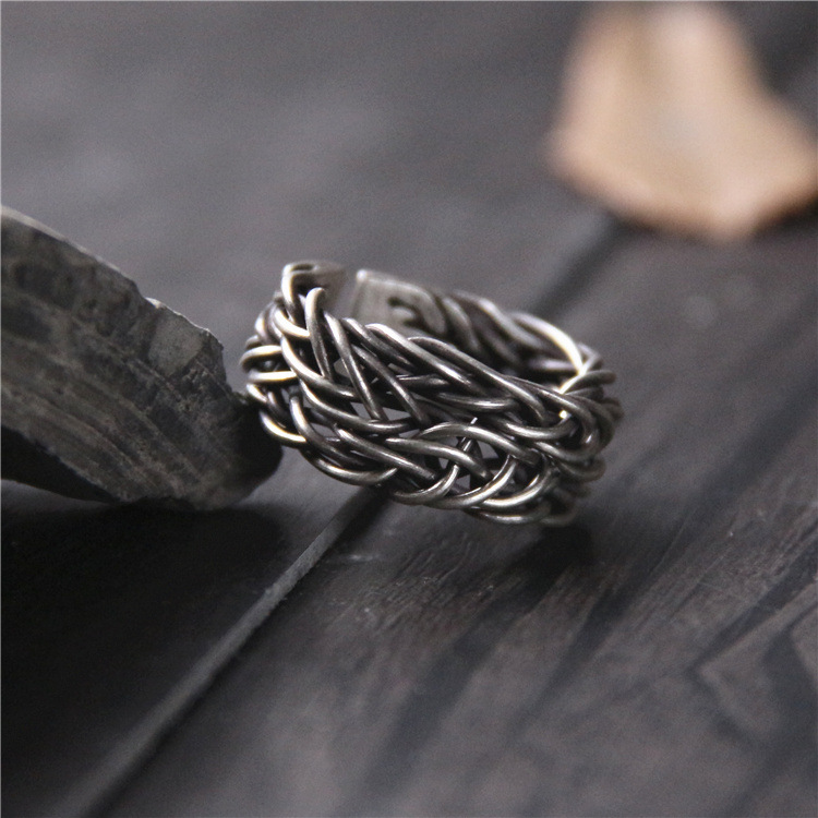 New Hot Top Fashion Real Anel Feminino Thai Handmade Ring Section S925 Restoring Ancient Ways Do Old Men And Weave Personality-in Rings from Jewelry & Accessories    1