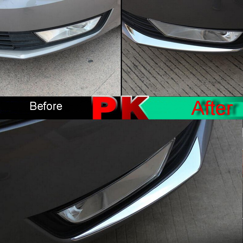 Prix pour 2 Pcs BRICOLAGE Car Styling ABS Chrome sous Avant brouillard lumière de Cas de Couverture autocollant Autocollants Pour SKODA OCTAVIA A7 2015-16 partie Accessoires