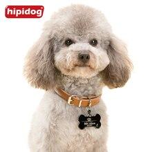 Hipidog Custom Engraved Dog Pet Tag Double Sided Personalized ID Dog Cat Charm Tags Bone Round Heart Shape Support Any Language