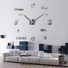 Wall Clock  Acrylic Mirror Clocks Europe Diy 3d Stickers Large Decorative Quartz Watch Living Room