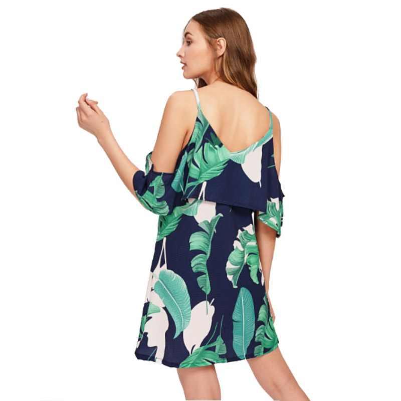 夏の葉プリント女性コールドショルダードレスフリルオフショルダースパゲッティストラップ女性チュニックガールカジュアルビーチドレス