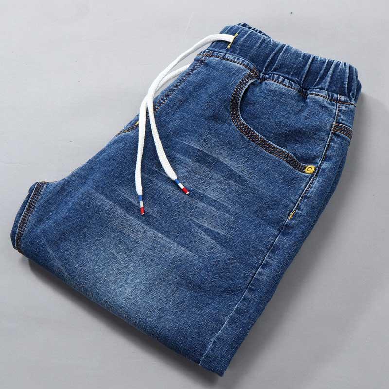 2017 Summer Plus Size Regular Men Shorts Denim Jeans Drawstring Waist M-7XL(30-50)