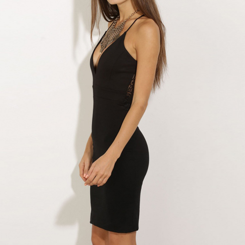 Deep Vee, Elia-Cher Brand, Sexy Black Evening / Party Dress