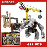 411pcs 07021 Captain America Bela Marvel Rhino and Sandman Villain Team Up DIY Building Blocks Compatible with Lego