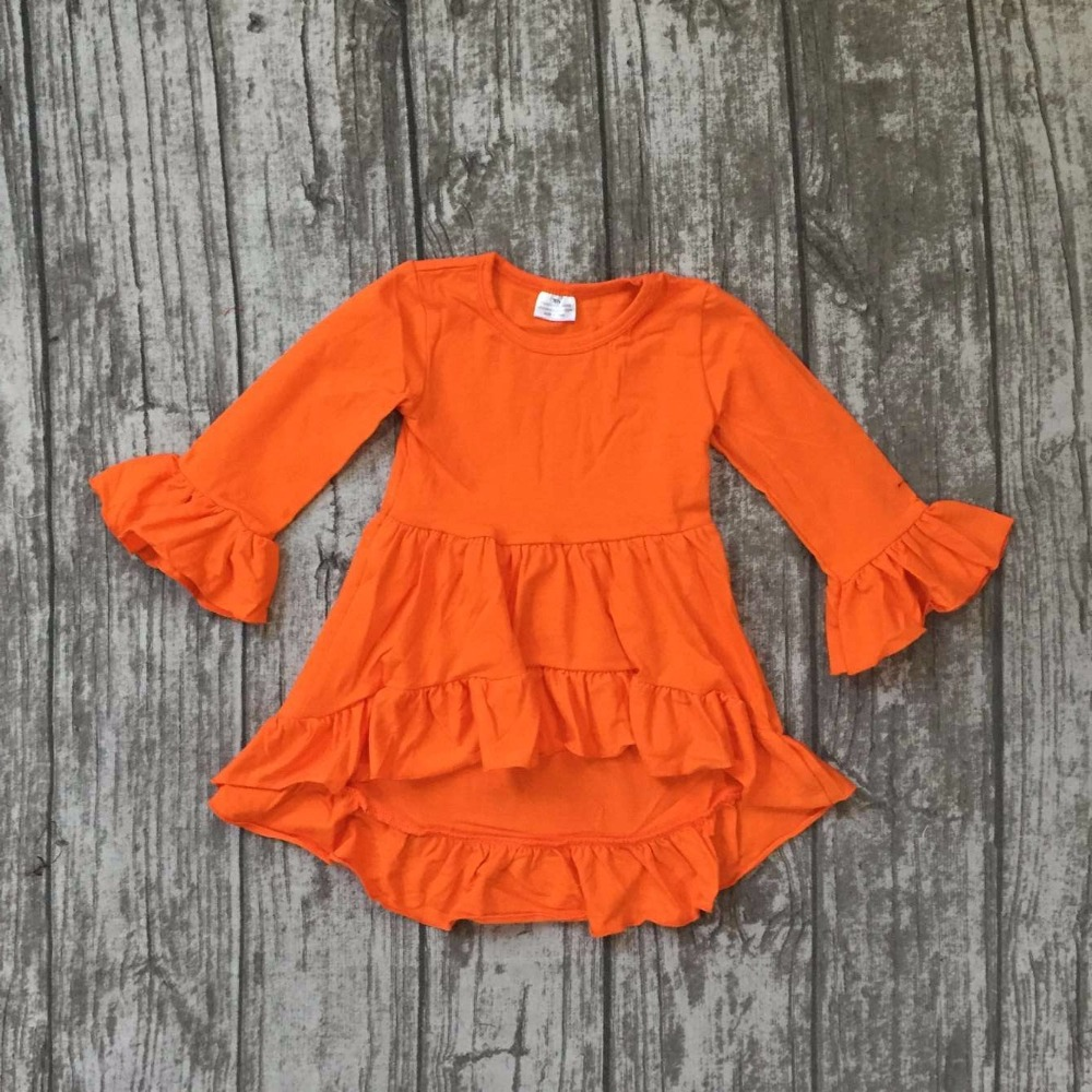 Halloween Fall/ winter baby girls dress orange cotton long sleeve ruffles solid O-Neck children clothes flare sleeve boutique