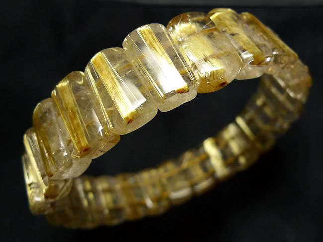 Натуральные золотые волосы Рутиловый Кварц прямоугольник бусины Исцеление браслет 14x8x6 мм 7