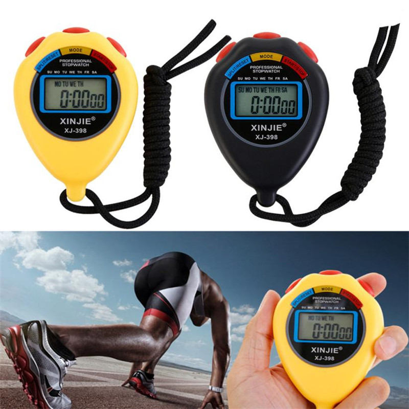 New Black/Yellow Stopwatch Timer LCD Digital Professional Chronograph Timer Counter Spor ...