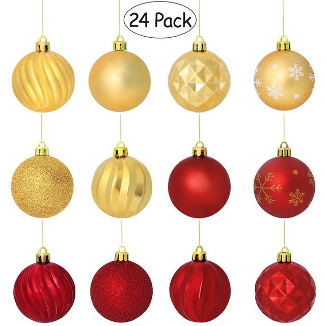 24PCS Christmas Ball Ornaments with String Shatterproof Hanging Small Balls  Tree Ornaments Decoration for Party Holiday - 24PCS Christmas Ball Ornaments With String Shatterproof Hanging