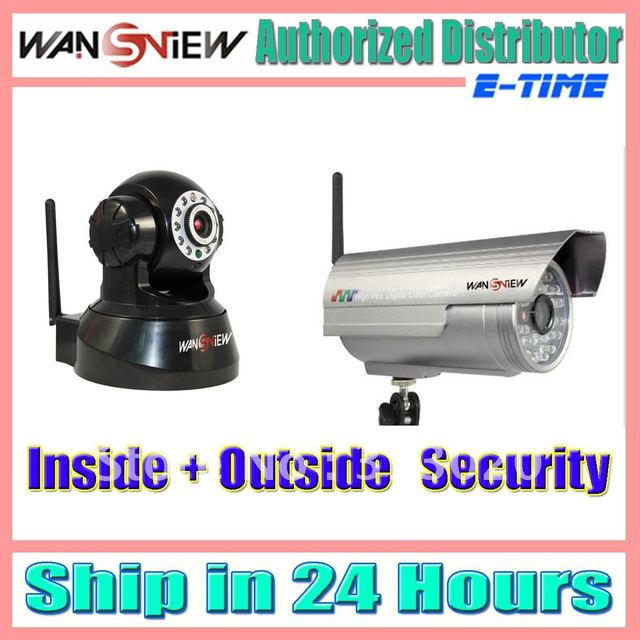 US $185 99 |WANSVIEW IP Camera(NC 541W)Black for Inside+NCH 543W for  Outside US shipping-in Surveillance Cameras from Security & Protection on