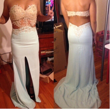 More Color Luxuries 2016 Promotion On sale Sexy Mermaid Applique Beaded Backless Evening dress Formal Long Women Prom Dresses