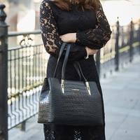 Laorentou Women Bags Handbag Crocodile Top Handle Bags Women Purse Lady Real Leather Tote Bag Valentine