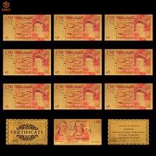 10 шт./лот, цветная английская копия денег, Золотая фольга 50 фунтов, коллекция денег для украшения дома