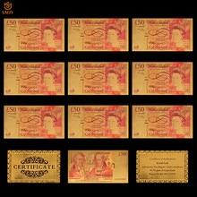 10 pçs/lote colorido reino unido réplica moeda 50 libras folha de ouro notas papel dinheiro coleção para decoração casa