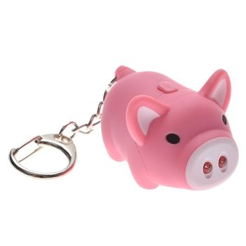 OPPOHERE Cute Pig Keychain LED Flashlight Keyring Sounds Oinc Oinc Kids Toys Gift TOP