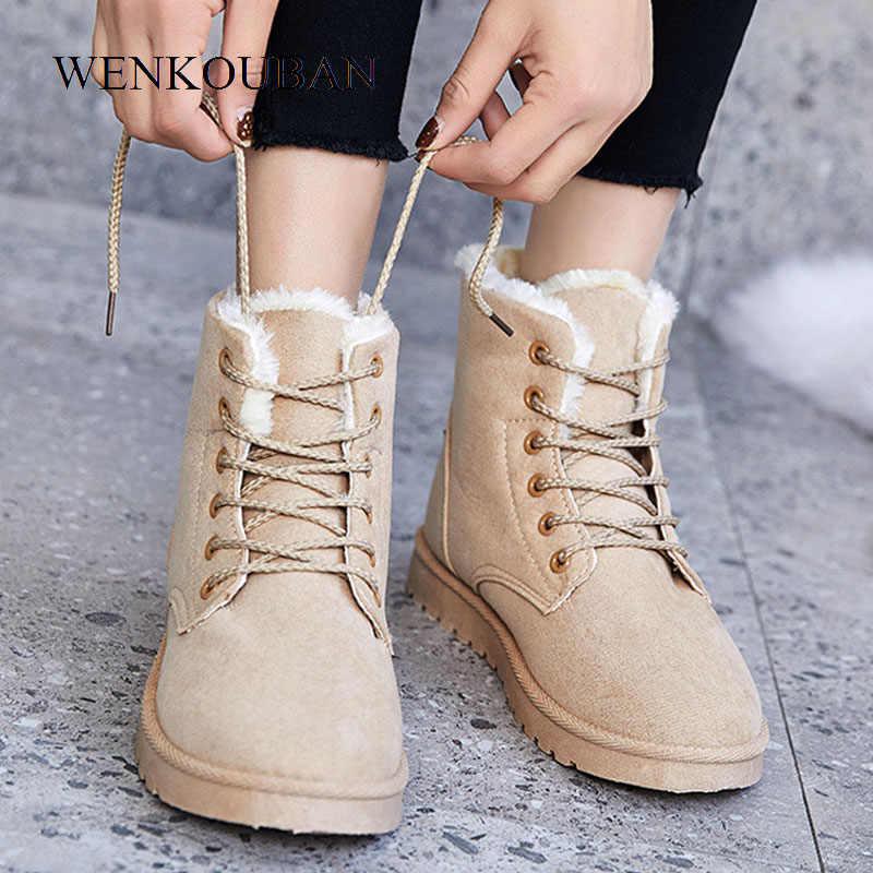 Frauen Stiefel Winter Warm Schnee Stiefel Weibliche Knöchel Keil Stiefel Plattform Plüsch Schuhe Faux Wildleder Pelz Beige Botas Mujer Invierno 2020
