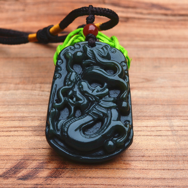 (Certification)Natural Dark Green Stone Pendant Carved Chinese Dragon Pendant Necklace Amulet Gift for Men's  Jewelry