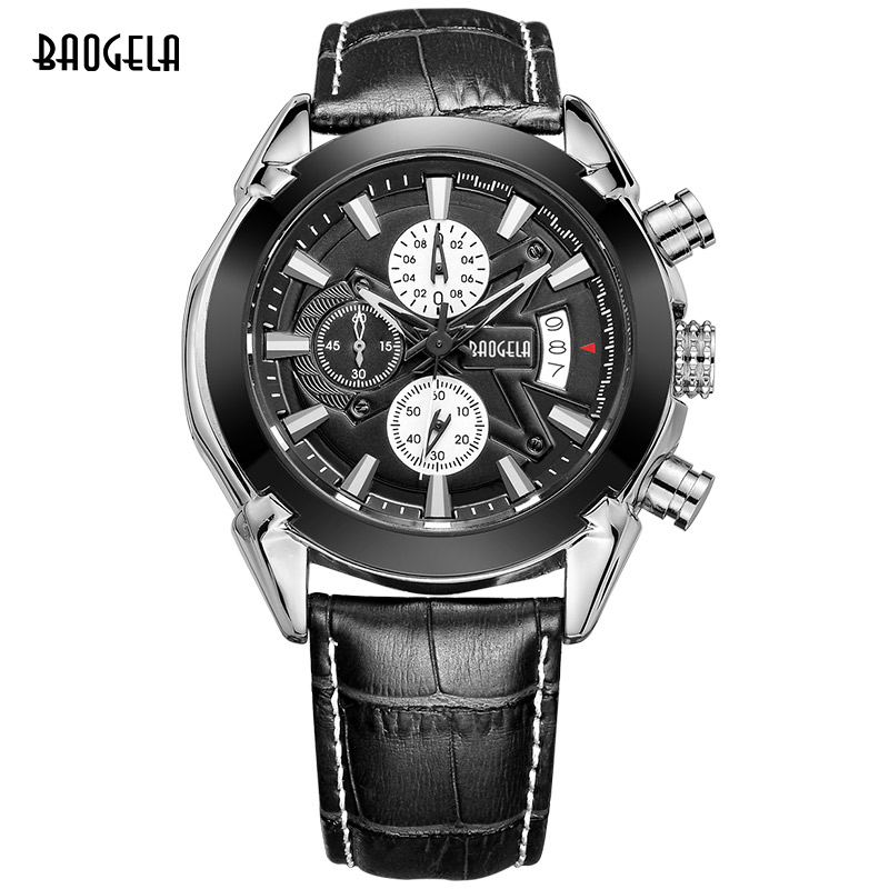 BAOGELA hot brand quartz watch man fashion analog watches men casual chronograph hour luxury luminous leather wristwatch male megir fashion sport quartz watches men casual leather brand wristwatch man hot waterproof luminous stop watch for male hour 2015
