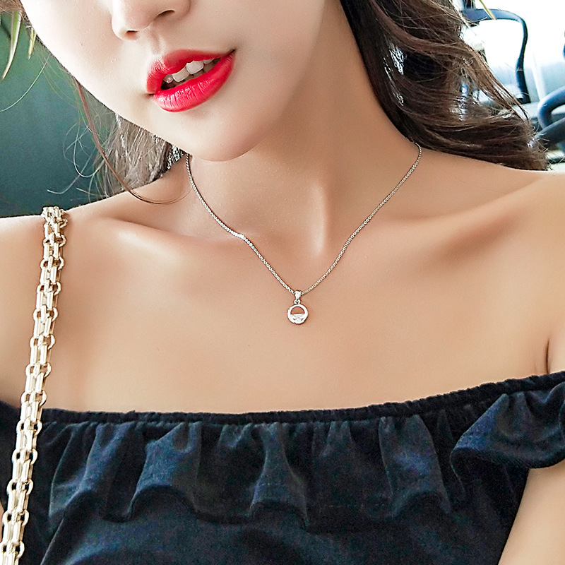New Arrival Cute Round Silver Pendant With Zircon Stone for Women Long Chian Necklace Choker Fashion Jewelry 2019 in Pendant Necklaces from Jewelry Accessories
