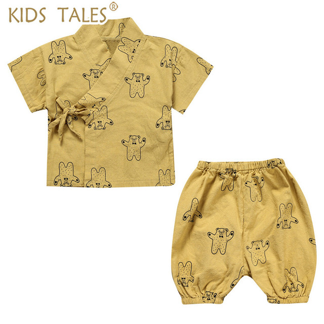 6bdea039ef6 Newborn Japanese Baby kimono Tracksuit Baby Boys Clothes Pants + Tops Kids  Print Cotton Kids Clothing