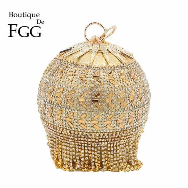 Boutique De FGG Rodada Circular Ouro Diamante Borla Wristlets Bolsa Mulheres Do Casamento Bolsa de Noiva Festa À Noite Saco de Embreagem De Cristal