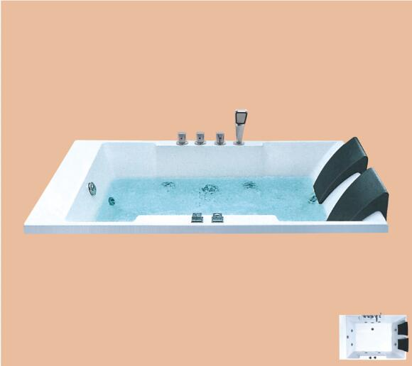 1800mm Drop-in Fiberglass whirlpool Bathtub Acrylic Hydromassage Embedded Surfing Double People Tub NS6024
