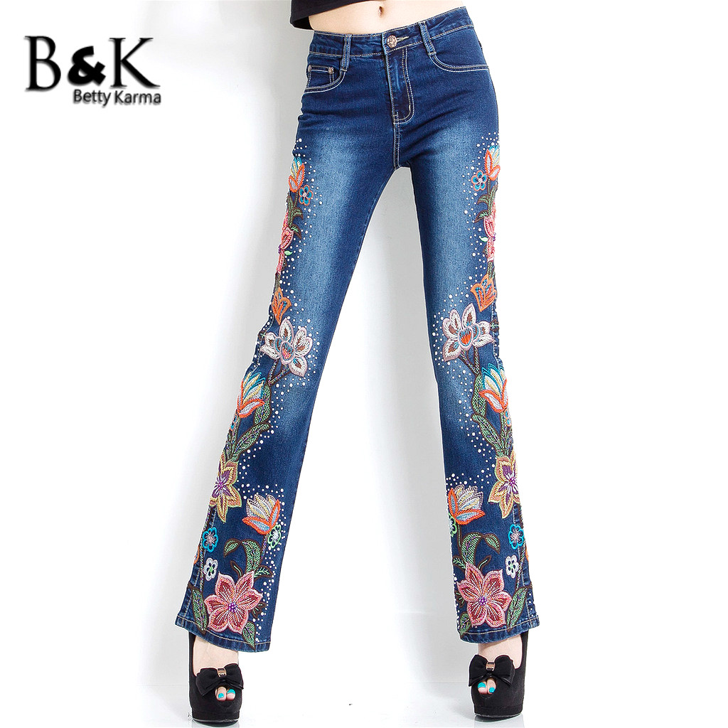 цены High Quality Embroidery Flower Flare Pants Jeans Woman with High Waist Plus Size Denim Skinny Jeans Push Up Jeans Femme 36 Size