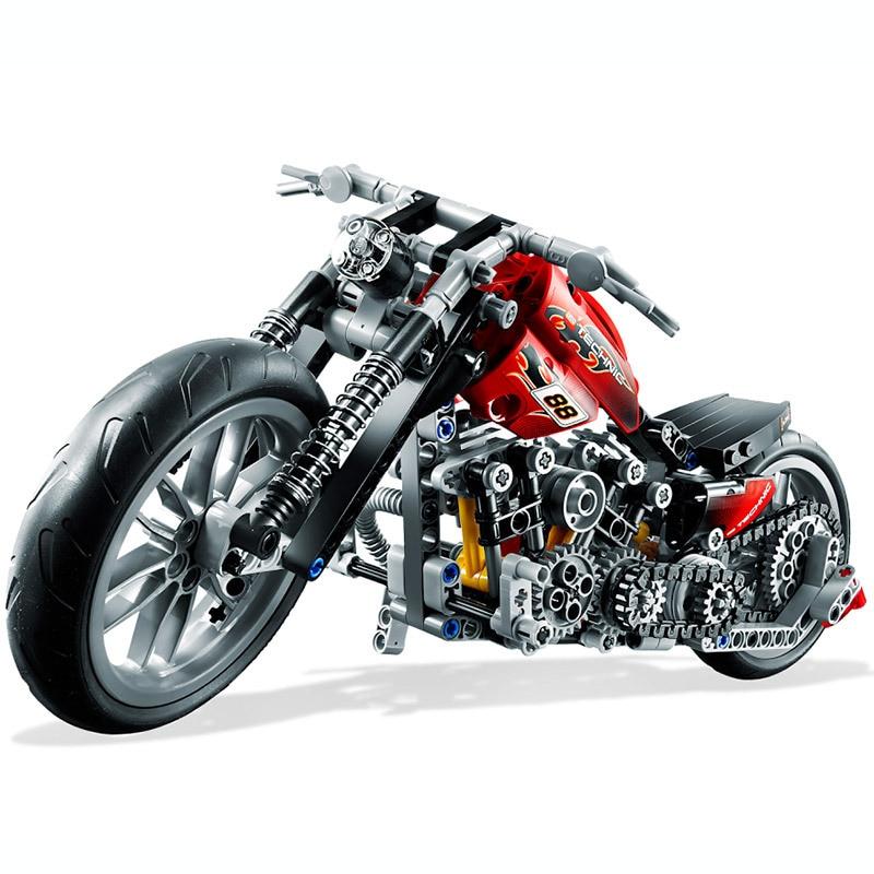 HOT 378Pcs Technic Motorcycle Exploiture Model Harley Vehicle Building Bricks Block Set Toy Gift Compatible With Legoe