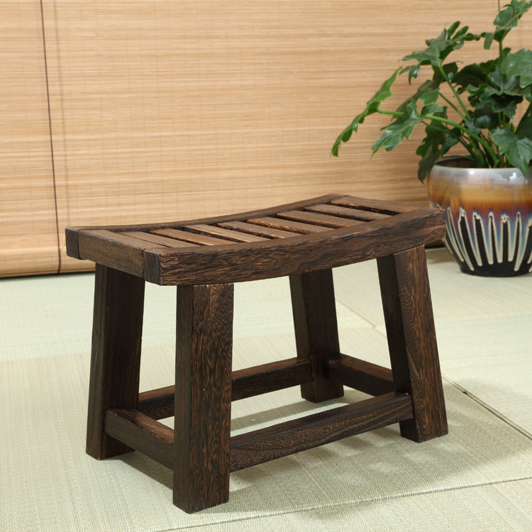 Japanese Antique Wooden Stool Bench Paulownia Wood Asian Traditional Furniture Living Room Portable Small Low