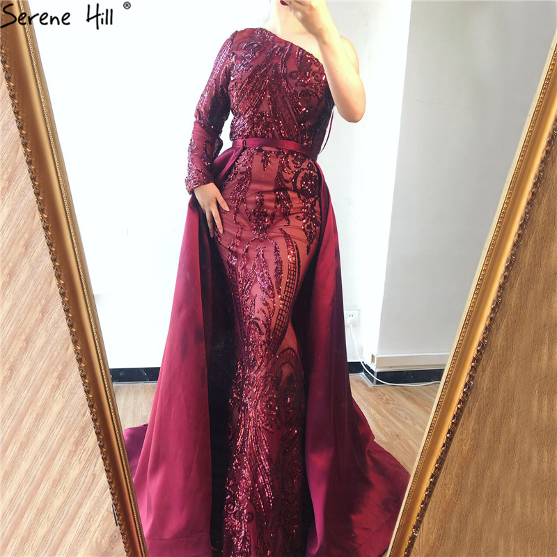 Dubai Wine Red One Shoulder Evening Dresses Sequeined Luxury Sexy With Train Evening Gowns 2019 Serene Hill LA6619