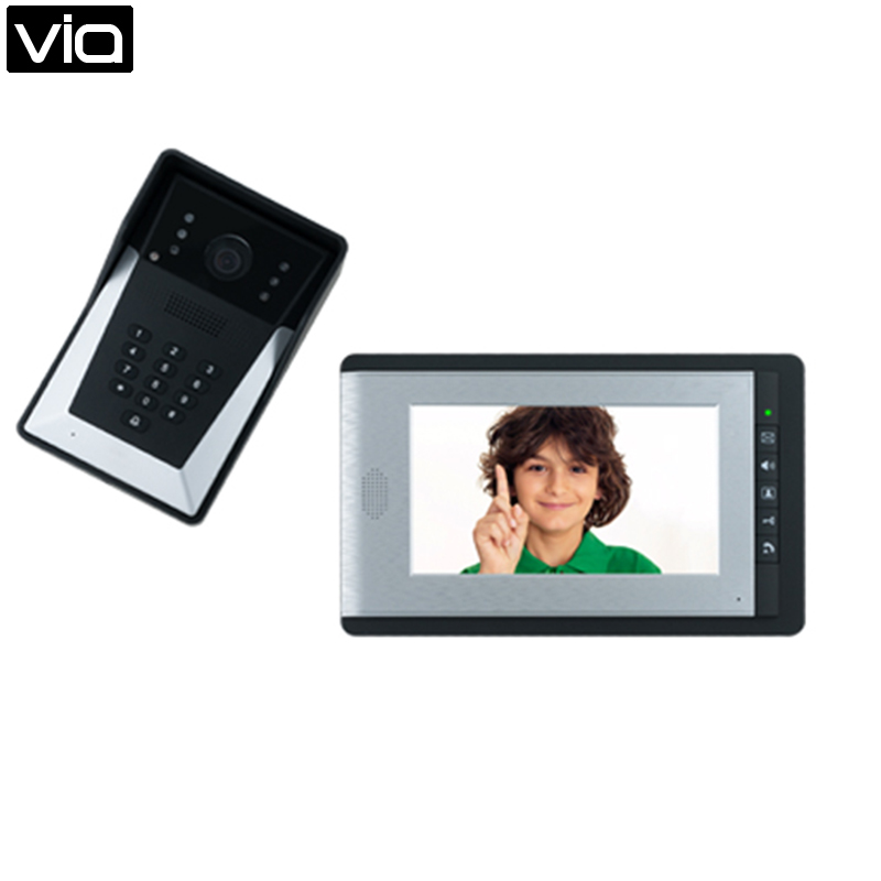 FC-7012E Free Shipping Video Door Phone, Have door access control function, programming can only use by keypad